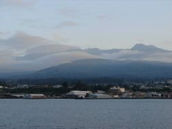 Port Angeles with the Olympic Mountains in the background. Photo