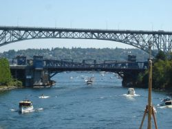 Approaching the Fremont Bridge, the low bascule bridge in the foreground Photo
