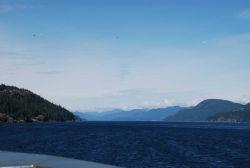 Looking up Seymour Narrows, British Columbia. Photo