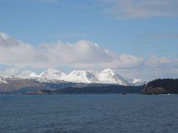 Mountains of Kodiak Island seen from offshore. Photo