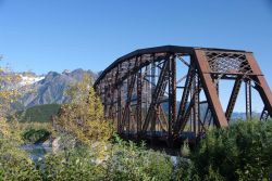 The Miles Glacier Bridge or Million Dollar Bridge across the Copper River. Photo