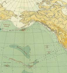 Section of North Pacific Ocean on Murray's map of the Pacific Ocean, Chart 1B, accompanying the Summary of Results of the Challenger Expedition, 1895. Photo