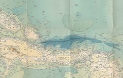 1939 chart of the Caribbean by Navy Hydrographic Office showing state of knowledge of bathymetry of the Caribbean and surrounding seas. Photo