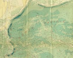 Section of 1939 North Pacific chart 5486 by Navy Hydrographic Office showing hundreds of seamounts, the true configuration of the Aleutian Trench, and Photo