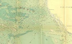 Southeast section of 1939 North Pacific chart 5486 by Navy Hydrographic Office showing use of name Albatross Plateau for East Pacific Rise leading int Photo