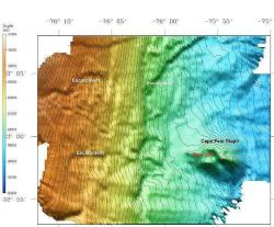 3-D view of the continental slope and Cape Fear Diapir on the continental slope off North Carolina Photo