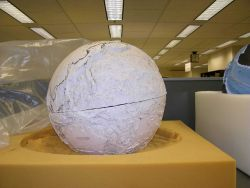 Stages in the production of the famous basketball bathymetric globe produced by Bruce Heezen and Marie Tharp in their quest to understand the physiogr Photo