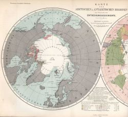 Map of the Arctic and Antarctic Regions as published in Petermann's Geographische Mittheilungen 1865 Photo