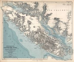 Map of Vancouver Island showing offshore bathymetry and topography of Vancouver Island Photo