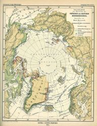 Arctic Ocean region (Polarkarte) showing Fruheren und Heutigen Menschengrenze by Kurt Hassert Photo