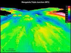 A multi-beam survey and 3-D image of the Mangatolu Triple Junction. Photo