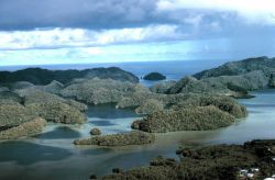 Aerial view of uplifted limestone islands in Palau Photo