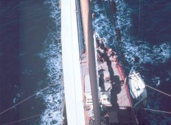 A view of the deck of the WESTWARD while under sail. Photo