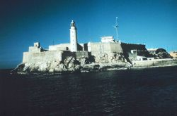 El Moro, the lighthouse and storm warning mast at the entrance to Havana. Photo