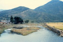 View of Chinese countryside with terraced hills Photo