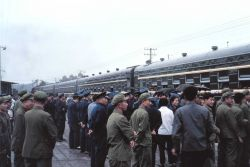 Troops waiting at train station Photo
