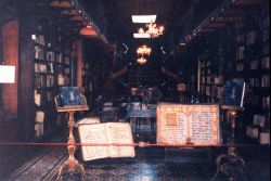 A colonial era library in a cathedral at Lima. Photo