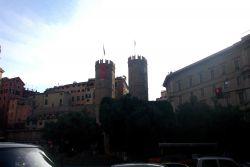 Battlements of an early castle in Genoa. Photo