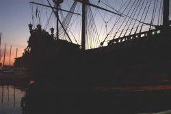 A renaissance era vessel at Genoa at the quay at Genoa. Image