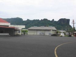 Pohnpei International Airport with Sokehs Ridge in background. Photo