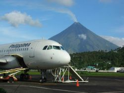 Active volcano Mount Mayon as seen from the Legaspi Airport. Image