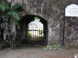 An iron gate in the inner fort of the Intramuros of Manila. Image