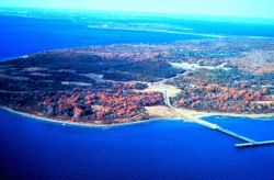 Narragansett Bay National Estuarine Research Reserve Aerial view of South Prudence Island and T-wharf Photo