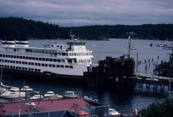Ferry boat ELWHA docked at the Friday Harbor ferry terminal. Photo