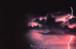 A cloud-to-ground lightning stroke originating from higher based cloud structure Image