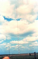 NSSL researchers mounted weather instruments on this very tall TV tower Photo