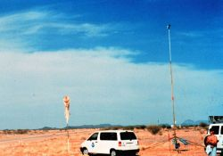 Installing a surface meteorological measurement tower in Arizona. Photo