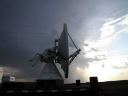 NOAA/NSSL X-Pol Mobile radar scanning before the storm. Photo