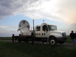 NOAA/NSSL X-Pol Mobile radar ready for operation. Photo