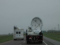 The field command vehicle passing the SMART-R radar outside of Canute, Oklahoma, on I-40 heading towards Texas. Photo