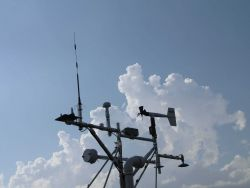 Rack of weather instruments attached to mobile mesonets Photo