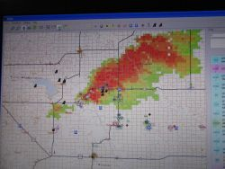 An image from the Situational Awareness Severe Storm Intercept software showing the position of each research vehicle in relation to the target storm. Image