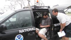 Making preparations for the storm chase in an NSSL vehicle Photo