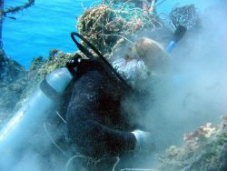 Scuba diver cutting derelict net material free prior to floating free portion to surface Photo