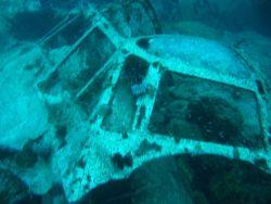 Cockpit of Betty Bomber in Chuuk Lagoon. Photo