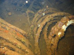 Either electrical or hydraulic lines on the Fujikawa Maru. Photo