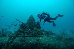 Diving on Avenger TBF at Anacapa Island. Photo