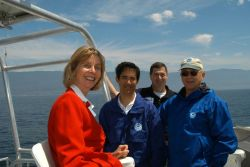 Congresswoman Lois Capps with sanctuary employees Chris Mobley, Dana Wilkes, and National Marine Sanctuary Director Dan Basta. Photo