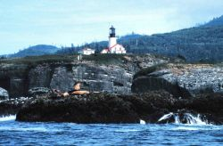 Tatoosh Lighthouse from offshore. Photo