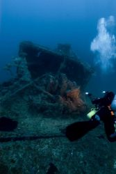 A diver on the bow of the NORTHERN LIGHT, a shipwreck in 190 feet water depth Photo