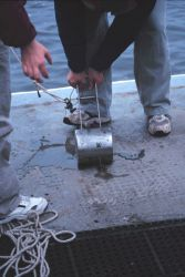Bottom sampling operations on the NOAA Ship FERREL. Photo