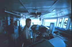 NAURU99 Chief Scientist and Lieutenant Mark Boland on the bridge of the NOAA Ship RONALD H Photo
