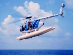 MD500 taking off from NOAA Ship DAVID STARR JORDAN for marine mammal studies. Photo