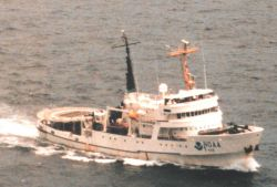 NOAA Ship DAVID STARR JORDAN as seen from MD500 helicopter during marine mammal studies in the tropical east Pacific Ocean. Photo
