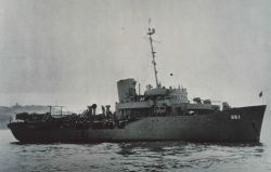 The Coast and Geodetic Survey Ship PATHFINDER at anchor in San Francisco Bay where it returned for repairs after two years in the Solomon Islands Photo