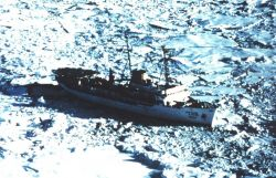 The SURVEYOR stuck in the ice in the Beaufort Sea. Photo